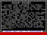 Monkey Bizness ZX Spectrum Game instructions