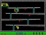 Monkey Bizness ZX Spectrum Using the umbrella for a safe fall.