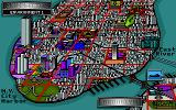 Teenage Mutant Ninja Turtles: Manhattan Missions DOS Map of New York, here you select a mission