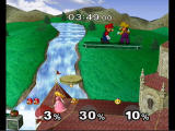 Super Smash Bros.: Melee GameCube battle on a castle