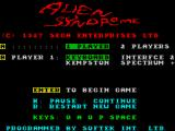 Alien Syndrome ZX Spectrum Title screen and main menu