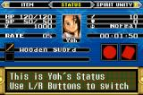 Shaman King: Master of Spirits Game Boy Advance Main Status Screen