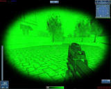 Global Operations Windows Night Vision Goggles blurs your sight a little, but it also enables you to spot enemies easier, in this dark Columbia level.