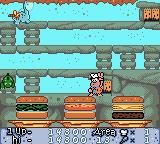 The Flintstones: Burgertime in Bedrock Game Boy Color Finished level 3