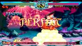 Darkstalkers Chronicle: The Chaos Tower PSP Rikuo taking a perfect victory against Morrigan