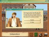 Oregon Trail II Windows Taking to a citizen.