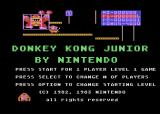 Donkey Kong Junior Atari 8-bit Title screen and main menu