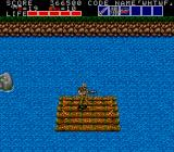Bloody Wolf TurboGrafx-16 Using a raft to get across the river