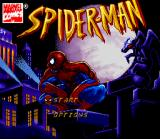 Spider-Man SNES Title screen with Spider-Man close up