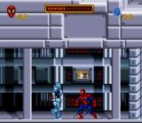 Spider-Man SNES Spider-Man Is caught between a moving wall and a cyborg