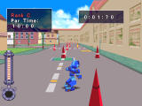 Mega Man Legends Windows Racing in the streets.
