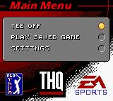 Tiger Woods PGA Tour 2000 Game Boy Color Menu screen.