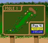Tiger Woods PGA Tour 2000 Game Boy Color Field layout (for Hole 1).