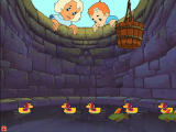 Babes in Toyland Windows Use the bucket to save the ducks from the well, but not the fish