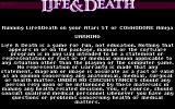 Life & Death Amiga Warning