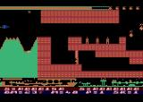 Airstrike II Atari 8-bit Game start - three sensitive missiles provide the first challenge