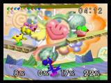 Super Smash Bros. Nintendo 64 Kirby fighting the Yoshi team