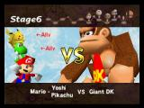 Super Smash Bros. Nintendo 64 Mario, Yoshi and Pikachu vs Giant D.K screen