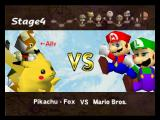 Super Smash Bros. Nintendo 64 Pikachu and Fox vs Mario Bros screen