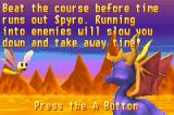 Spyro: Season of Ice Game Boy Advance Getting info before you enter the Stone Age Speedway