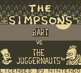 The Simpsons: Bart vs. the Juggernauts Game Boy Title Screen