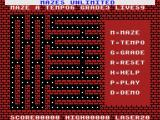 Mazes Unlimited MSX The title/setup screen