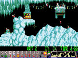 Xmas Lemmings DOS Xmas'91 - playing level 1