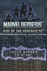 Marvel Nemesis: Rise of the Imperfects Nintendo DS Title screen