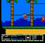 The Flintstones: The Surprise at Dinosaur Peak! NES Barney holding the vines and shooting at the same time.