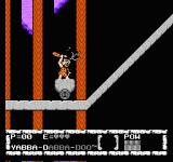 "The Flintstones: The Surprise at Dinosaur Peak! NES Riding this stone age ""train"" and hitting a bat."