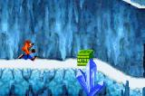 Crash Bandicoot: The Huge Adventure Game Boy Advance Frostbite Cavern is an icy stage with Nitro boxes that explode the moment you touch them