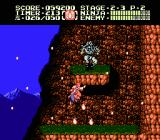 Ninja Gaiden II: The Dark Sword of Chaos NES The spider-tossing boss at the top of the mountain, where the wind is still furious.