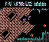 Ninja Gaiden II: The Dark Sword of Chaos NES Level 6-1 involves graphical tricks where Ryu is obscured by slanted, crumbling buildings.
