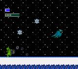 Dragon Fighter NES Transforming into a dragon amidst the snowfall