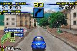 Sega Rally Championship Game Boy Advance Impreza on Village track in a place where the road gets narrow