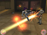 Oni Windows Konoko battles the Syndicate enforcer Barabas and his devestating Wave Motion Cannon