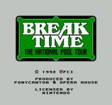 Break Time: The National Pool Tour NES Title Screen
