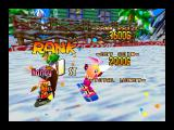 Snowboard Kids Nintendo 64 Finishing first on Big Snowman course.
