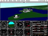 Microsoft Flight Simulator (v4.0) Macintosh Approaching Meigs Field in the Learjet, planetarium on lower left