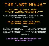 Last Ninja 2: Back with a Vengeance NES Title Screen 1
