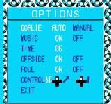 Goal! Two NES Options screen