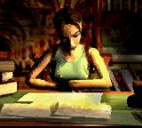Tomb Raider Game Boy Color Lara studies ancient manuscripts during the introduction made of static images.