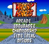 Wacky Races Game Boy Color Title screen and main menu