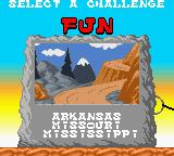 Wacky Races Game Boy Color Selecting a challenge during the Arcade mode.