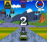 Wacky Races Game Boy Color At the start as The Slag Brothers in the Bouldermobile 01