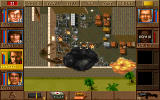 Jagged Alliance DOS A manufacturing plant blows up.