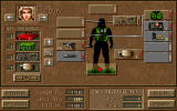 Jagged Alliance: Deadly Games DOS The inventory screen.