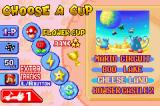 Mario Kart Super Circuit Game Boy Advance Cup selection (with 4 tracks per cup). The extra tracks are unlocked by winning the regular cups twice and collecting 100 coins in your second attempt.