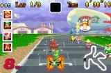 Mario Kart Super Circuit Game Boy Advance Get a speed boost at the starting line by hitting the gas just before Lakitu's final light is illuminated.