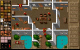 Jagged Alliance: Deadly Games DOS Mission editor: The red arrows show the doors' status.